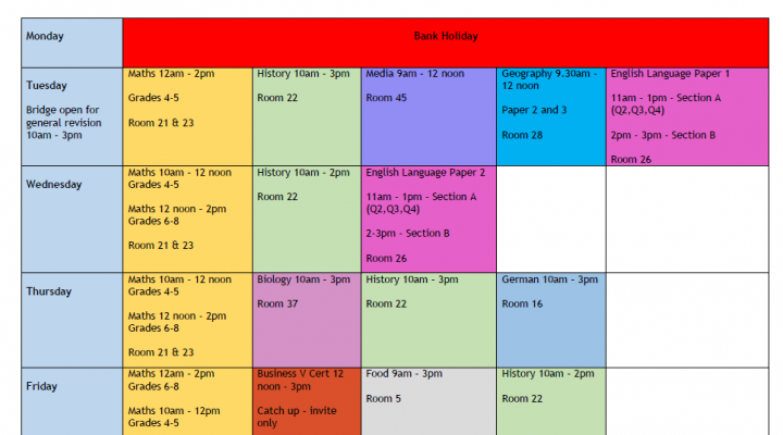 Year 11 May Half Term Revision Sessions