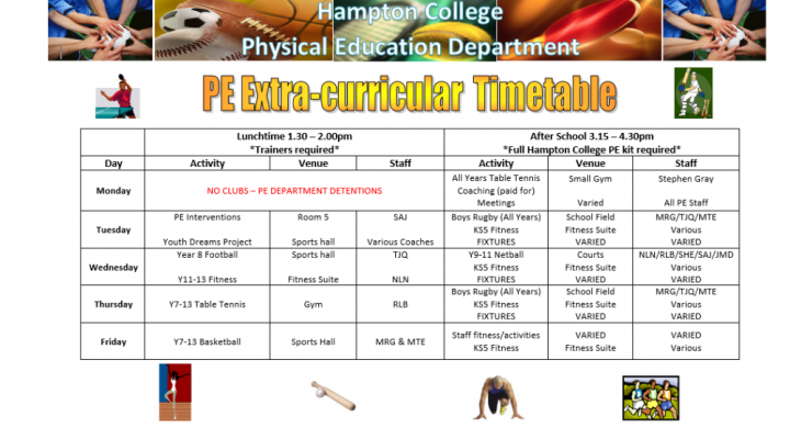 PE Extra-Curricular Clubs - Autumn 2019