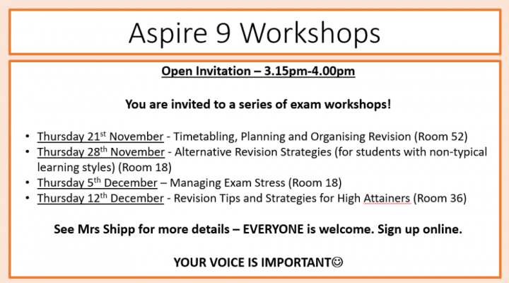 Aspire 9 Workshops