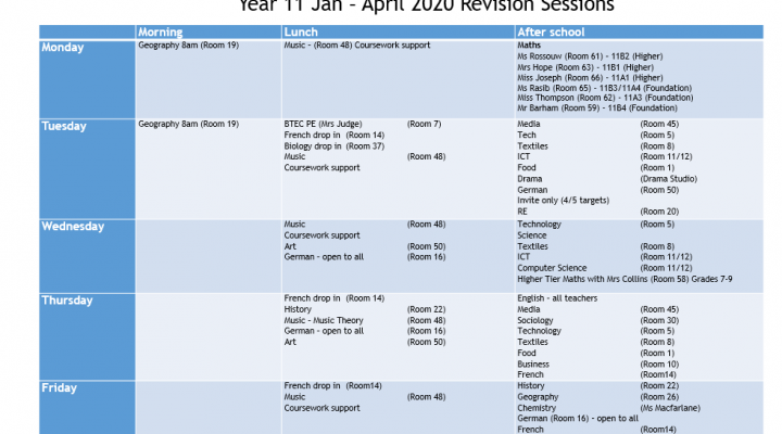 Year 11 Revision Sessions - February 2020